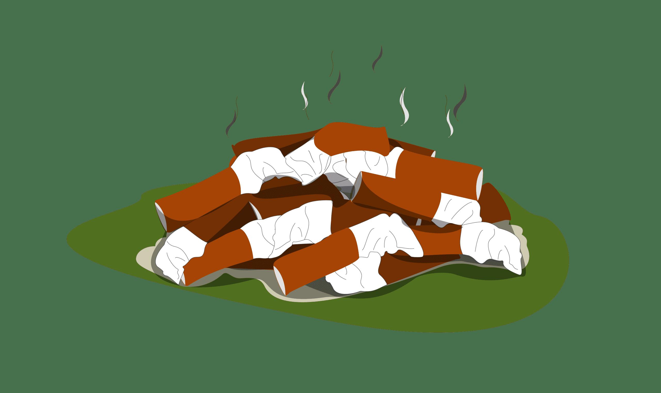 Mégots au sol